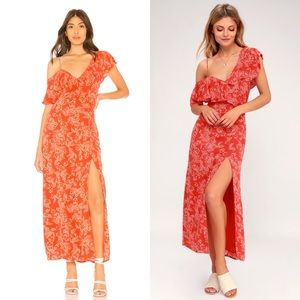 Amuse Society Midnight Flower Red  Maxi Dress